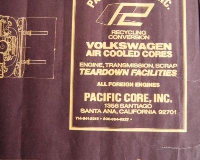 Vintage Pac Cor VW Blueprint Poster