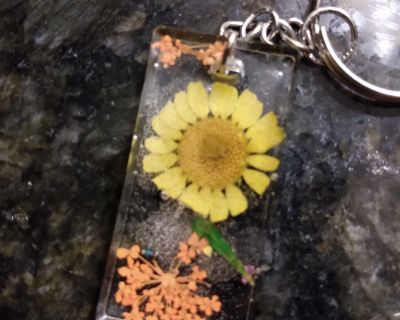 Keychain with Dried Yellow and Orange Flowers