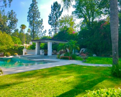 Myoka House; a zen- like outdoor space with Pergola, Pool, Water features, Fire pit and more, Northridge, CA