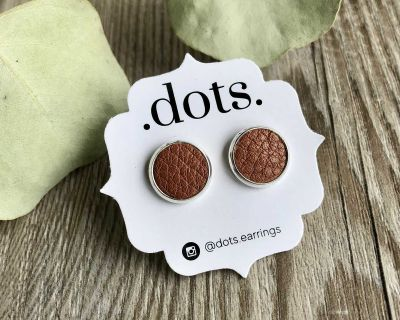 Dots Genuine Leather Cinnamon Studs