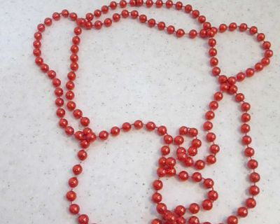 Red beaded necklace garland