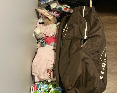 Lots of baby items and clothes