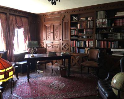 Wood-Paneled Library in Euro Vintage Estate, La Canada Flintridge, CA