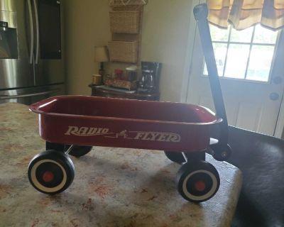 Miniature Radio Flyer wagon and wheel barrel