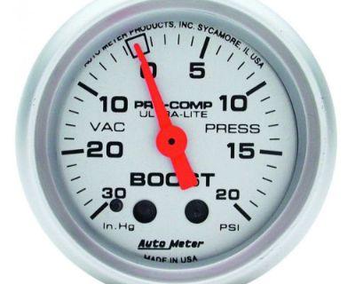 "Auto Meter 4301 Ultra-lite 2-1/16"" Mech. Boost/vacuum Gauge, 30 In Hg/20psi"
