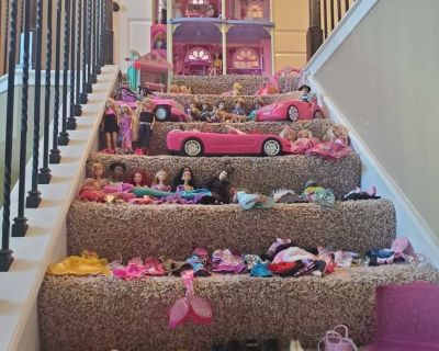 Barbie dolls, cars, doll house and more- lot