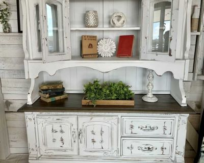 2-piece lighted hutch pantry or cabinet