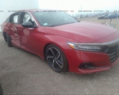 Salvage Red 2021 Honda Accord Sedan