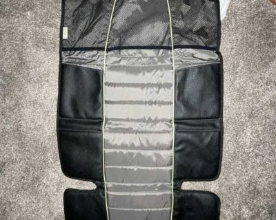 Car seat protector with pockets for travel