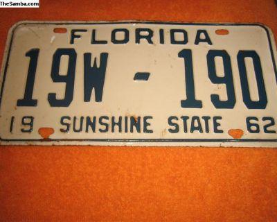vintage 1962 florida license plate register now!