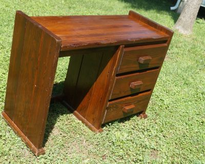 Solid Wood Cargo Style Student Desk with Three (3) Drawers