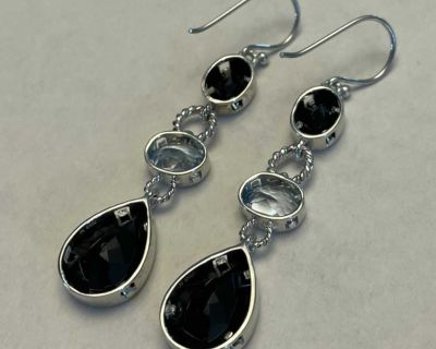 Sterling Silver Faceted Black Onyx Dangle/Drop Earrings 3 Stone