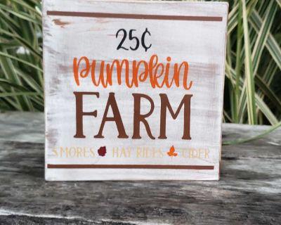 Handmade wood Pumpkin farm sign