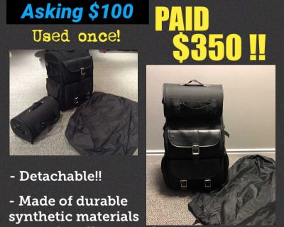 Motorcycle bag with cover. Used Once.