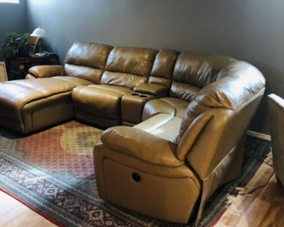 Leather camel color sectional