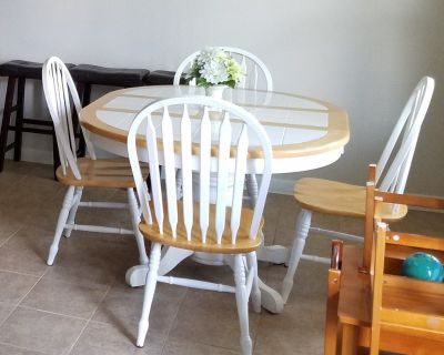 Dining table 4 chairs and 3 bar stools