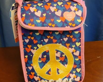 Hearts with Peace Symbol Insulated Lunch tote