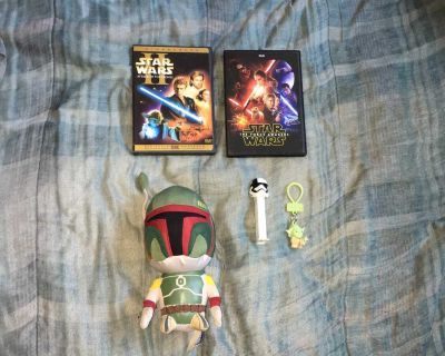 Lot Of Star Wars DVDs, Plush Toy, PEZ And Clip On Keychain