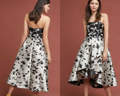 $670 Anthropologie Shoshanna Black/Silver Floral Bodice Ball Gown 0