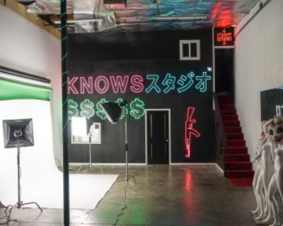 Industrial Photo/Film Studio Production Space With Neon Lights & Backdrops, North Hollywood, CA