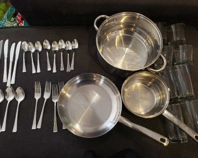 3 stainless steel cookware, 8 pc glassware & 20 pc cutlery