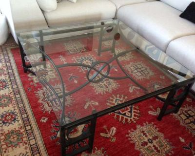 Designer Wrought Iron & Glass Coffee Table