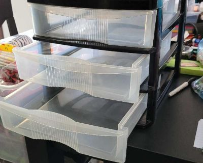 3 drawer Sterilite drawer set, black with clear drawers