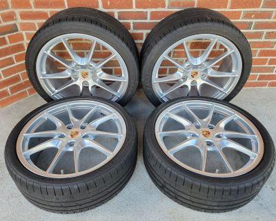 "OEM 20"" 981 982 718 Porsche Boxster Cayman Carrera S Rim Wheel/Tire Set Silver"