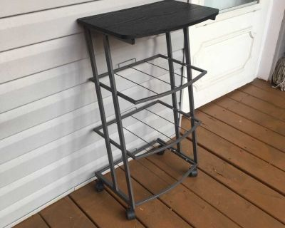 Wood Side Table With 3 Metal Shelves - Locking Wheels
