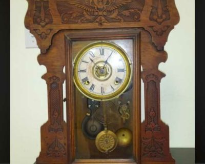 """BEAUTIFUL ORNATE ANTIQUE (2 ft. X 16"""") TABLE TOP GRANDFATHER CLOCK"""