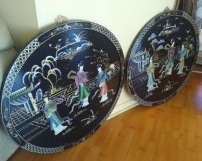 Beautiful Asian / Oriental Wall Art! 2 Pieces! Black Lacquer Style!