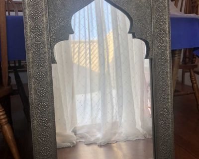 Framed Moroccan/Indian Stamped Mirror