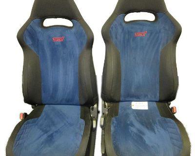 Jdm Pair Of Subaru Wrx-sti Version 7 Seats With Black And Blue Pattern