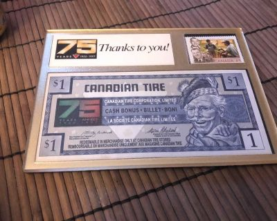 CANADIAN TIRE 75 YEARS DESK STAND . 1997 POSTAGE STAMP AND 1.00 CANADIAN TIRE MONEY . 4 1/2 X 6 INCHES . EXCELLENT CONDITION .
