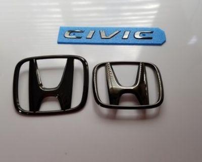 West Virginia - Honda Genuine JDM Access Black Chrome Emblem Kit 3pc, 2016+ Honda Civic 4DR