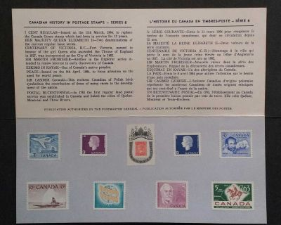 CANADIAN HISTORY IN POSTAGE STAMPS SERIES 6 SOUVENIR CARD