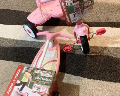 Pink Radio Flyer matching ride on toys