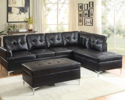 *New Black Leather Sectional w/ Ottoman* $799.99
