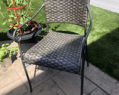 Grey Iron and Wicker Chair