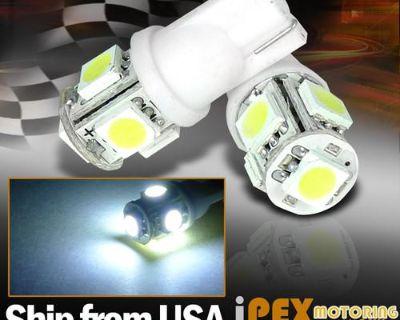 Free Ship 2x T10 12v Super Bright White 5-smd Led Wedge Light Bulbs 168/194 5050