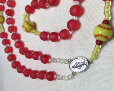 Rosary Softball Yellow Balls Red Beads Frost Glass Custom Necklace Italian Silver Medal Crucifix