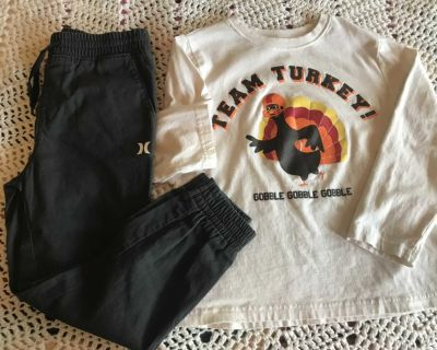 Size 6 set jogger pants new top worn once .