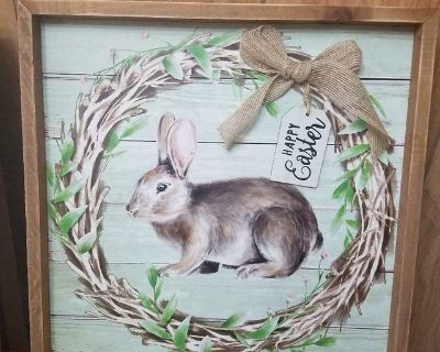 """Wooden Frame Rabbit Bunny Picture Wall Hanging! Tag says: 'Happy Easter' 13"""" x13"""""""