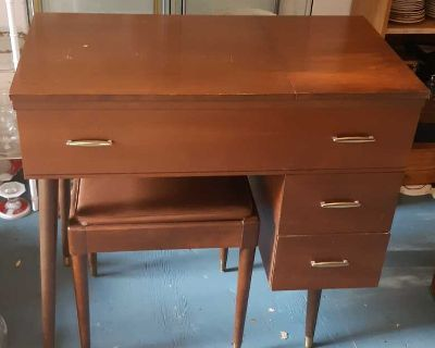 Beautiful vintage mid century Sewing machine table can be used as writing desk
