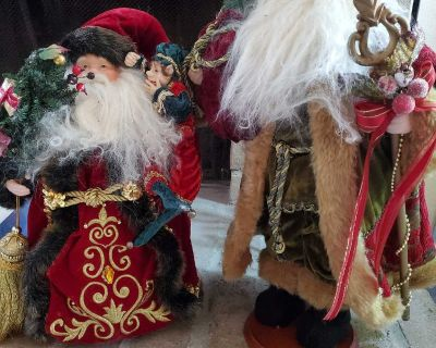 """Vintage 19"""" and 15"""" Standing Santa Clause"""