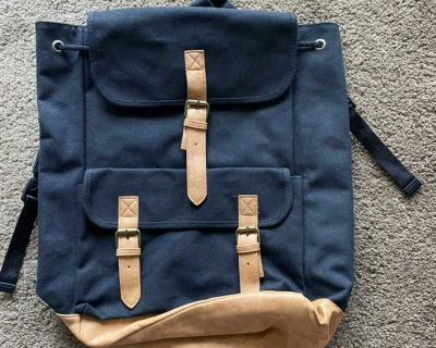 DSW CANVAS/LEATHER BACKPACK, Black/Brown