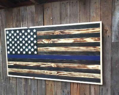 FS American Flag Blue line wall hanger