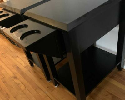 Side tables w/cup holders and drawer