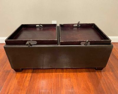 Leather Ottoman with Built in Food Trays