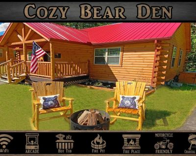 Cozy Bear Den - WiFi / Arcade Game / Fire Pit / Hot Tub - Pigeon Forge